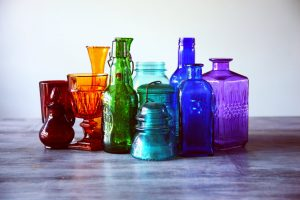 Different colored bottles that could help to rid yourself of perishables when moving