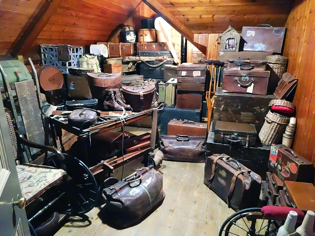 lot of old suitcases