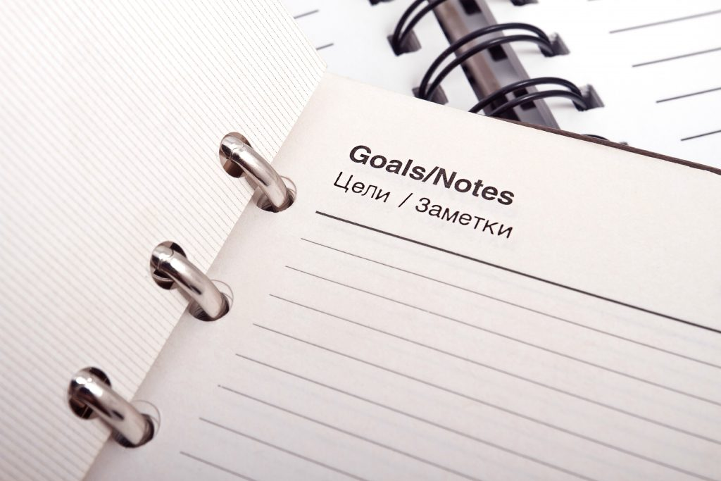 A notebook with goals will help you adapt to a new language.