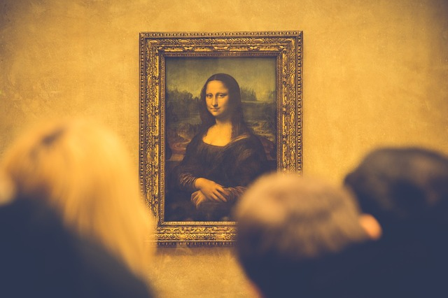 Mona Lisa in its frame.