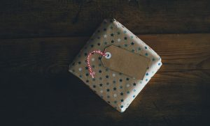 A wrapped gift ready for shipping.