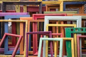 picture frames in various colors