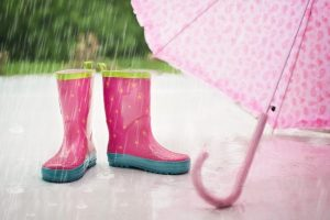 Rain boots and an umbrella are a must when you want to avoid moving in bad weather.