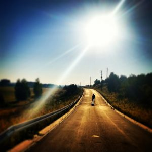 Road in the sun.