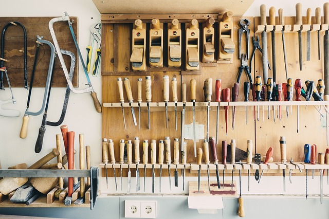A garage filled with tools.
