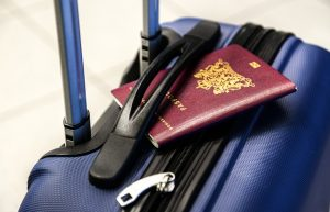 Passport on the traveling suitcase