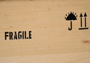 fragile label on the crate