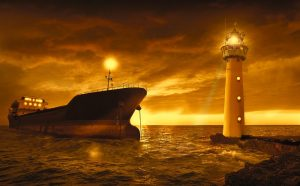 a lighthouse and a freighter - Find suitable movers when moving from Japan to San Francisco