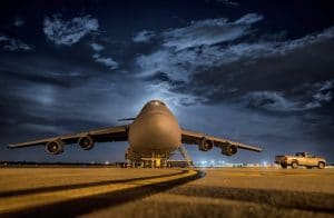 A plane on a runway.