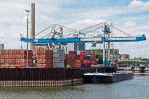 Port, ship and crane