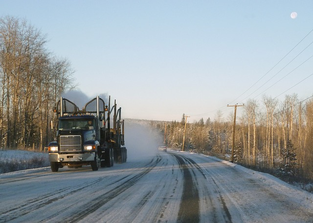 Truck in cold weather shipping and moving