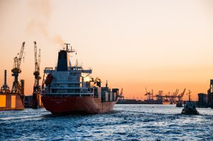 Cargo ship on the sea - sea freight is the way to transport lumber overseas