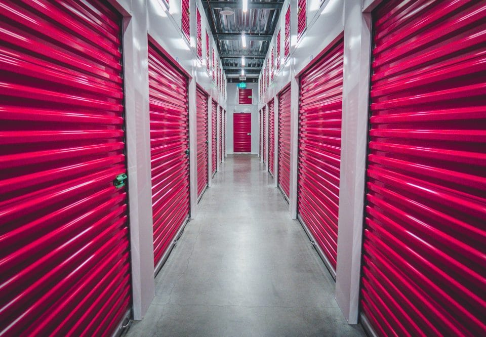 Pink door storage units