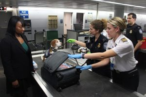 customs service checking bags