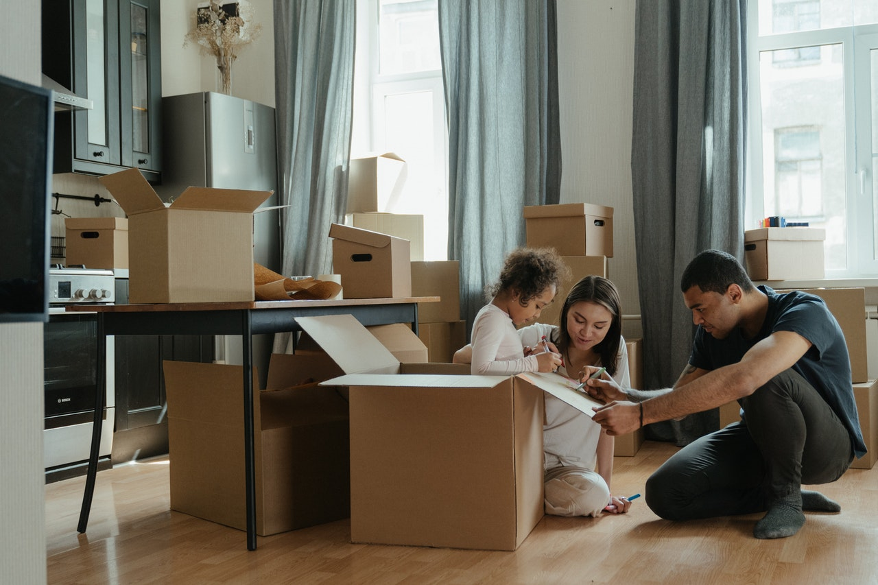 a family moving to a smaller house