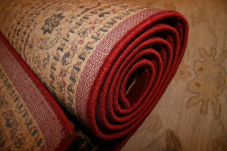 A rolled up carpet