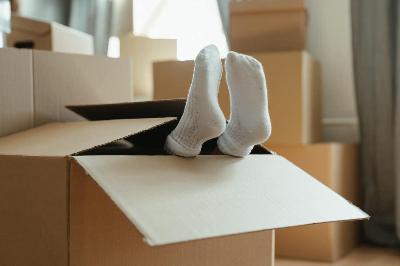 White socks in cardboard box