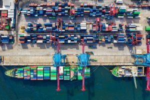 Birds-eye view of cargo containers